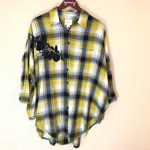 Maeve plaid oversized short sleeved shirt xs euc